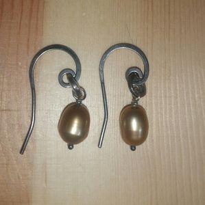 Silpada 925 Sterling/Copper Pearl Earrings